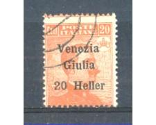 1919 - LOTTO/VNG31U - VENEZIA GIULIA - 20h. SU 20c. ARANCIO USATO