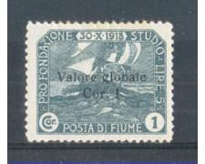 1919 - LOTTO/FIU97L - FIUME - 1 CORONA  ARDESIA  LING.