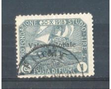 1919 - LOTTO/FIU97U - FIUME - 1 CORONA ARDESIA  USATO