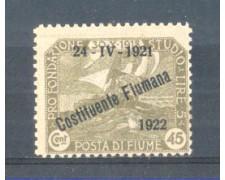 1922 - LOTTO/FIU168L - FIUME - 45c. OLIVA  LING.