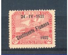 1922 - LOTTO/FIU169L - FIUME - 60c. CARMINIO  LING.