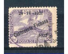 1922 - LOTTO/FIU170U - FIUME - 80c. VIOLETTO USATO