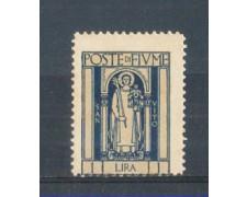 1923 - LOTTO/FIU183L - FIUME - 1 LIRA INDACO S.VITO LING.