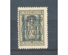 1924 - LOTTO/FIU193L - FIUME - 50c. AZZURRO LING.