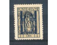 1924 - LOTTO/FIU195L - FIUME - 1 LIRA INDACO LING.
