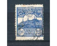 1903 - LOTTO/38U - SAN MARINO - 25c. AZZURRO VEDUTA USATO