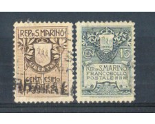 1907 - LOTTO/48CPU - SAN MARINO -  STEMMA 2v. USATI