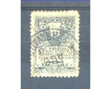 1910 - LOTTO/RSM50U - SAN MARINO - 15c. ARDESIA STEMMA USATO