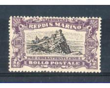 1918 - LOTTO/RSM61L - SAN MARINO -  2 Lire +5c. PRO COMBATTENTI LING.