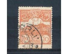 1921/23 - LOTTO/RSM71U - SAN MARINO - 10c. BRUNO ARANCIO USATO