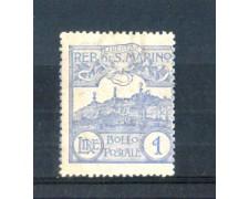 1921/23 - LOTTO/RSM80L - SAN MARINO - 1 LIRA OLTREMARE LING.