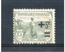 1922 - LOTTO/FRA164L - FRANCIA - 5c. su 15+10c. PRO ORFANI LING.