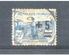 1922 - LOTTO/FRA165U - FRANCIA - 5c. su 25+15c. PRO ORFANI USATO