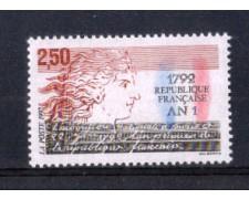 1992 - LOTTO/FRA2764N - FRANCIA - 1792 ANNO PRIMO REPUBBLICA 1v. NUOVO