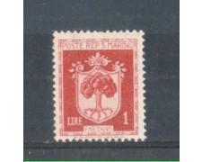 1945 - LOTTO/RSM284N - SAN MARINO - 1 LIRA STEMMI NUOVO