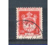 1945 - LOTTO/RSM284U - SAN MARINO - 1 LIRA STEMMI USATO