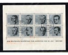 1964 - LOTTO/GFBF2U - GERMANIA - 20° ANNIVERSARIO ATTENTATO FOGLIETTO - USATO