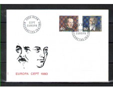 1980 - LOTTO/SVI1105FDC - SVIZZERA - EUROPA 2v. - BUSTA FDC