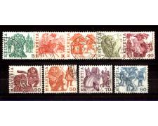 1977 - LOTTO/SVI1041CPU - SVIZZERA - TRADIZIONI POPOLARI 9v. - USATI