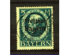 BAVIERA - 1919 - LBF/2367 - 5m. AZZURRO SOPRASTAMPATO - USATO