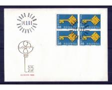 1968 - LOTTO/SVI806FDCQ - SVIZZERA - 20c. EUROPA - BUSTA FDC QUARTINA