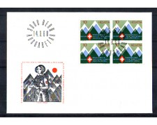 1968 - LOTTO/SVI803FDCQ - SVIZZERA - 10c. CLUB ALPINO FEMMINILE - BUSTA FDC QUARTINA
