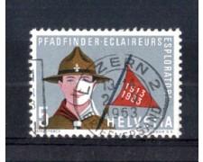 1963 - LOTTO/SVI705U -SVIZZERA -  5c. SCOUTS - USATO