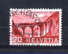 1963 - LOTTO/SVI70U - SVIZZERA - 20c.- FERROVIA LOTSCHBERG - USATO