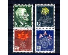 1947 - LOTTO/SVI448CPU - SVIZZERA - PRO JUVENTUTE 4v. - USATI