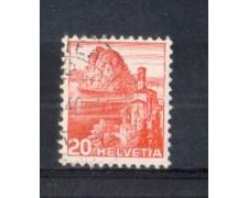 1938 - LOTTO/SVI312AU - SVIZZERA - 20c. CHIESA DI CASTAGNOLA CARTA  GOFFRATA - USATO