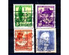 1934 - LOTTO/SVI281CPU - SVIZZERA - PRO JUVENTUTE 4v. - USATI