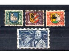 1930 - LOTTO/SVI249CPU - SVIZZERA - PRO JUVENTUTE 4v. - USATI