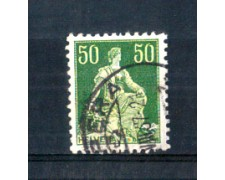 1908 - LOTTO/SVI124AU - SVIZZERA - 50c. VERDE CARTA GOFFRATA - USATO