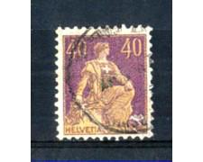 1908 - LOTTO/SVI123AU - SVIZZERA - 40c. VIOLA E GIALLO - USATO