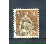 1908 - LOTTO/SVI121U - SVIZZERA - 30c. BISTRO E VERDE - USATO