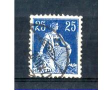 1908 - LOTTO/SVI120U - SVIZZERA - 25c. AZZURRO - USATO