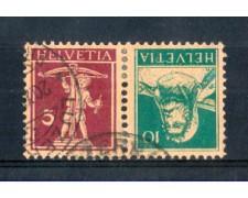 1924/28 - LOTTO/SVIK23U - SVIZZERA - 5+10c. TETE BECHE - USATI