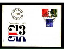 1970 - LOTTO/863FDC - SVIZZERA - CIFRA 3v. - BUSTA FDC