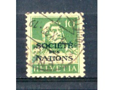 1922 - LOTTO/SVIS18U - SVIZZERA - 10c. SOCIETE' DES NATIONS - USATO