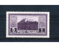 1929 - LOTTO/REG267L - REGNO - 5+1 LIRA MONTECASSINO - LING.