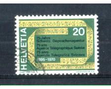 1970 - LOTTO/SVI850U - SVIZZERA - 20c. AG. TELEGRAFICA - USATO
