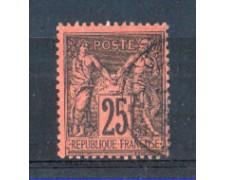 1877 - LBF/2281B - FRANCIA - 25c. NERO SU ROSSO - USATO