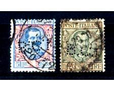 1901/1910 - LOTTO/4358 - REGNO - 5 e 10 LIRE SERIE FLOREALE PERFORATI B.C.I - USATI