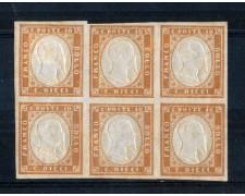 1861 - LOTTO/REG2BLN - REGNO - 10c. TERRA D'OMBRA - BLOCCO NUOVO