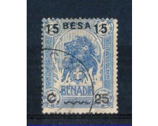 SOMALIA - 1922 - LOTTO/SOMALIT27U - 15 BESA SU 25c. SU 2,5 ANNA - USATO