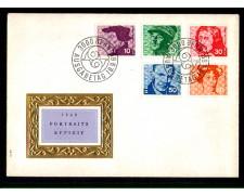 1969 - LOTTO/SVI845FDC - SVIZZERA - PERSONAGGI FAMOSI 5v. - BUSTA FDC