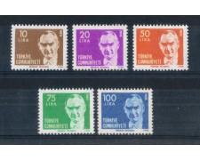 1980 - LOTTO/TUR2306CPN - TURCHIA - EFFIGIE DI ATATURK 5v. - NUOVI