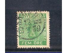 1858 - LOTTO/SVE6U - SVEZIA - 5 ORE VERDE GIALLO - USATO