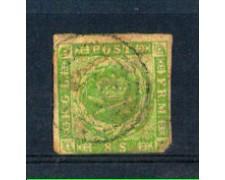 1854 - LOTTO/DAN5U - DANIMARCA  - 8 s. VERDE - USATO
