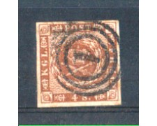 1858 - LOTTO/DAN8U - DANIMARCA - 4 s. BRUNO  - USATO